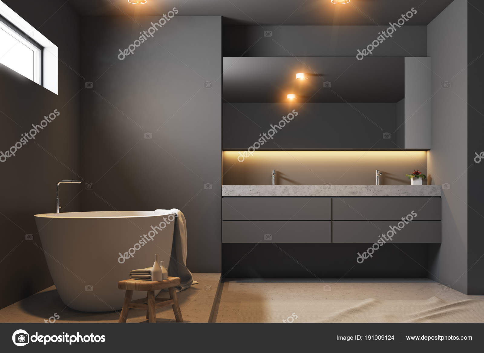 Intérieur de la salle de bain gris foncé bouchent — Photographie ...