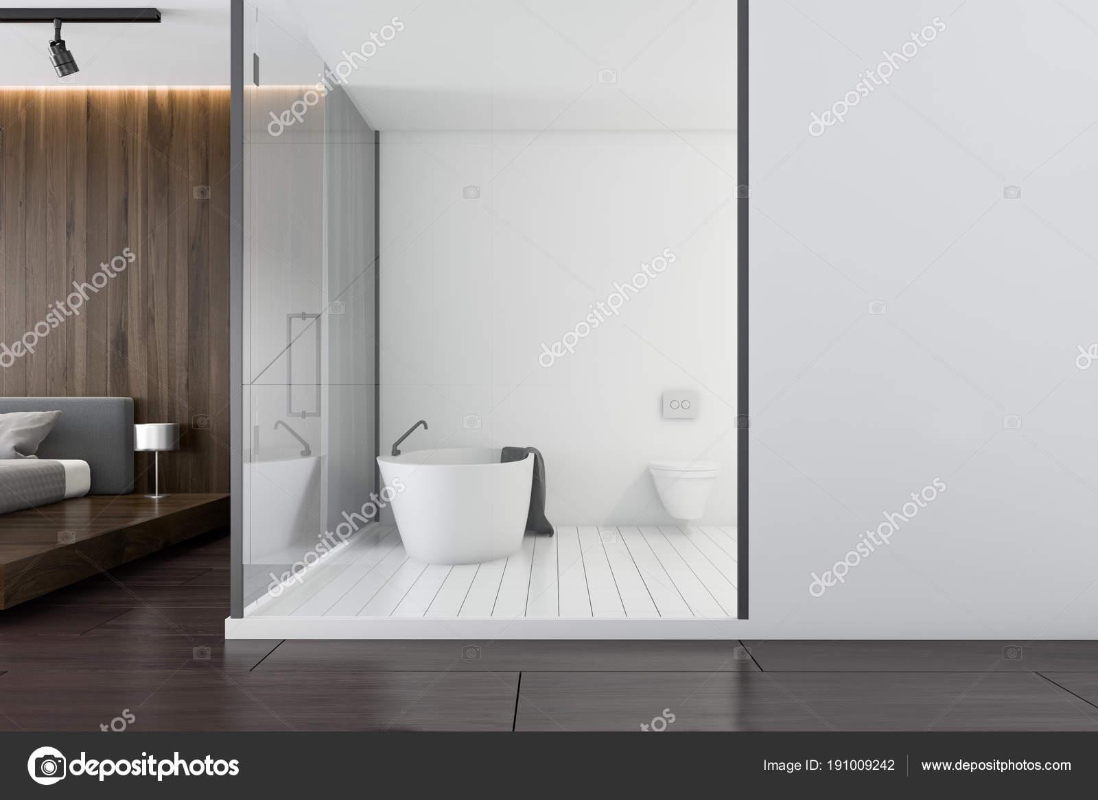 Luxe Donkere Badkamer : Witte en donkere houten luxe badkamer zijaanzicht u2014 stockfoto