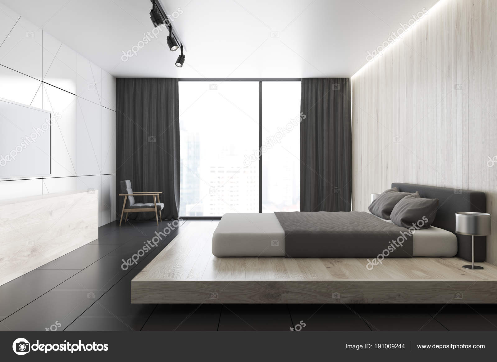 Loft Schlafzimmer Innenraum Mit Einer Weißen Und Hölzerne Wand, Geflieste  Eine Schwarze Boden Und Ein King Size Bett. Ein Tv Gerät An Der Wand.