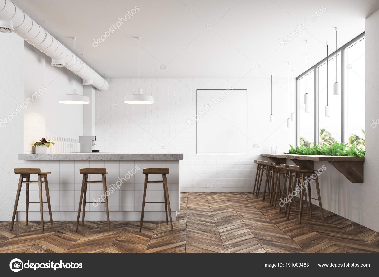 Weiße moderne bar interieur plakat u stockfoto denisismagilov