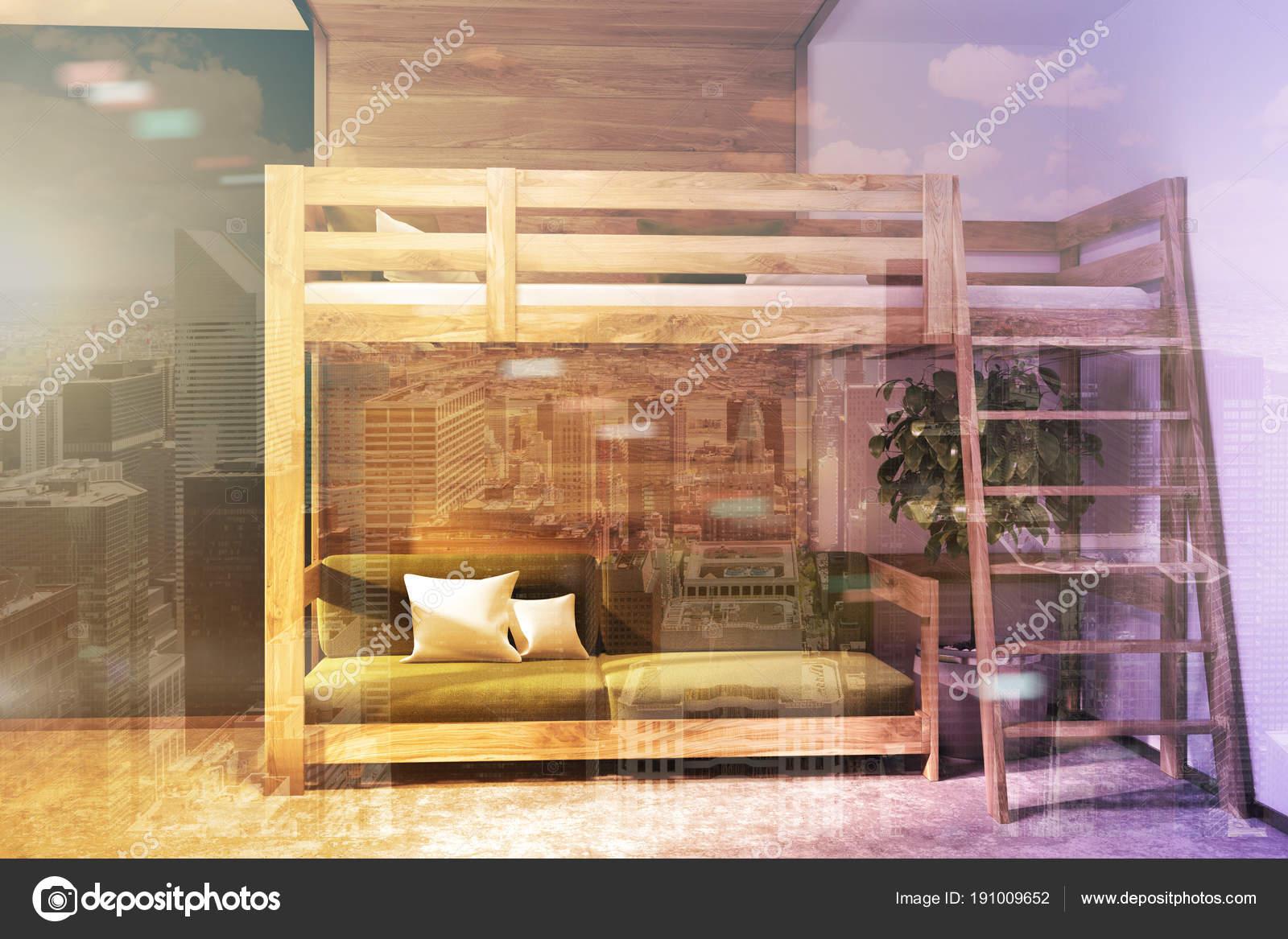 Slaapkamer Blauwe Muur : Donker blauwe muur slaapkamer groene loft bed dubbele u stockfoto