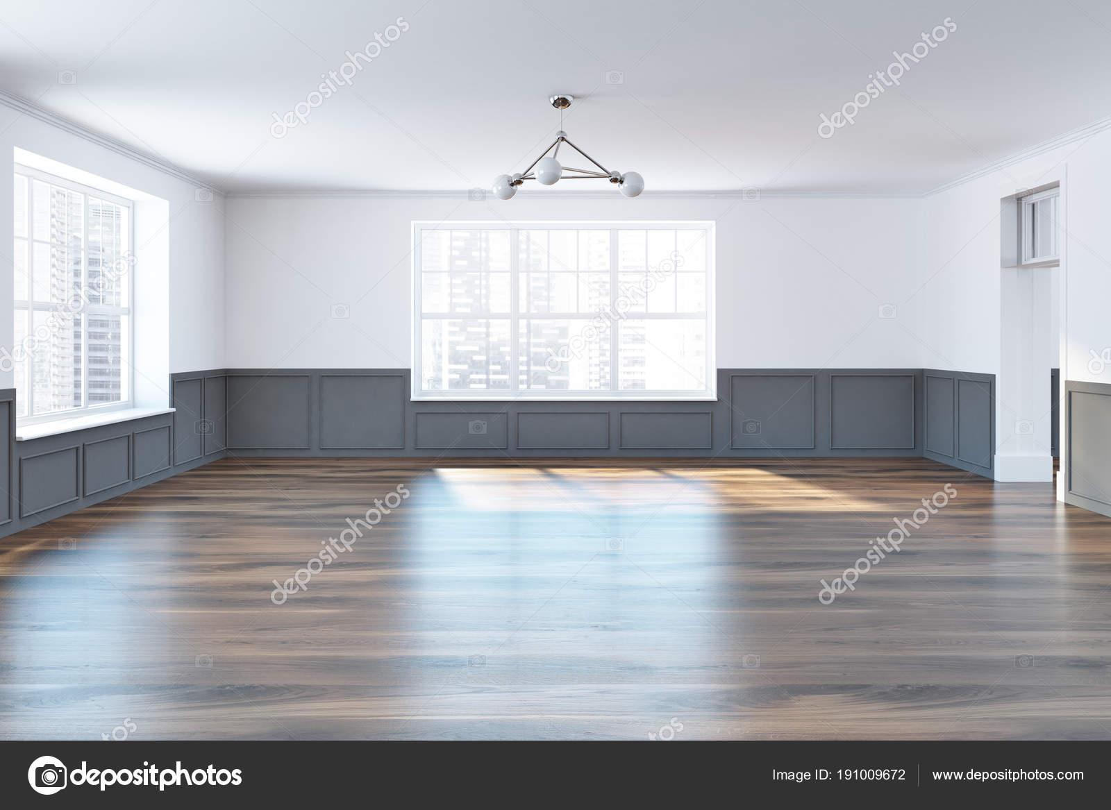 . White and gray empty room interior  windows   Stock Photo