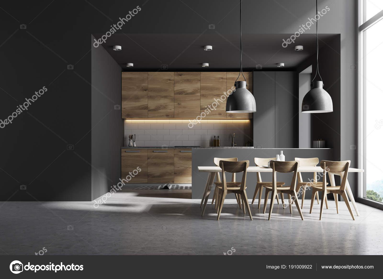 Tavoli Da Parete Cucina : Cucina in legno e grigio con un tavolo da parete u2014 foto stock