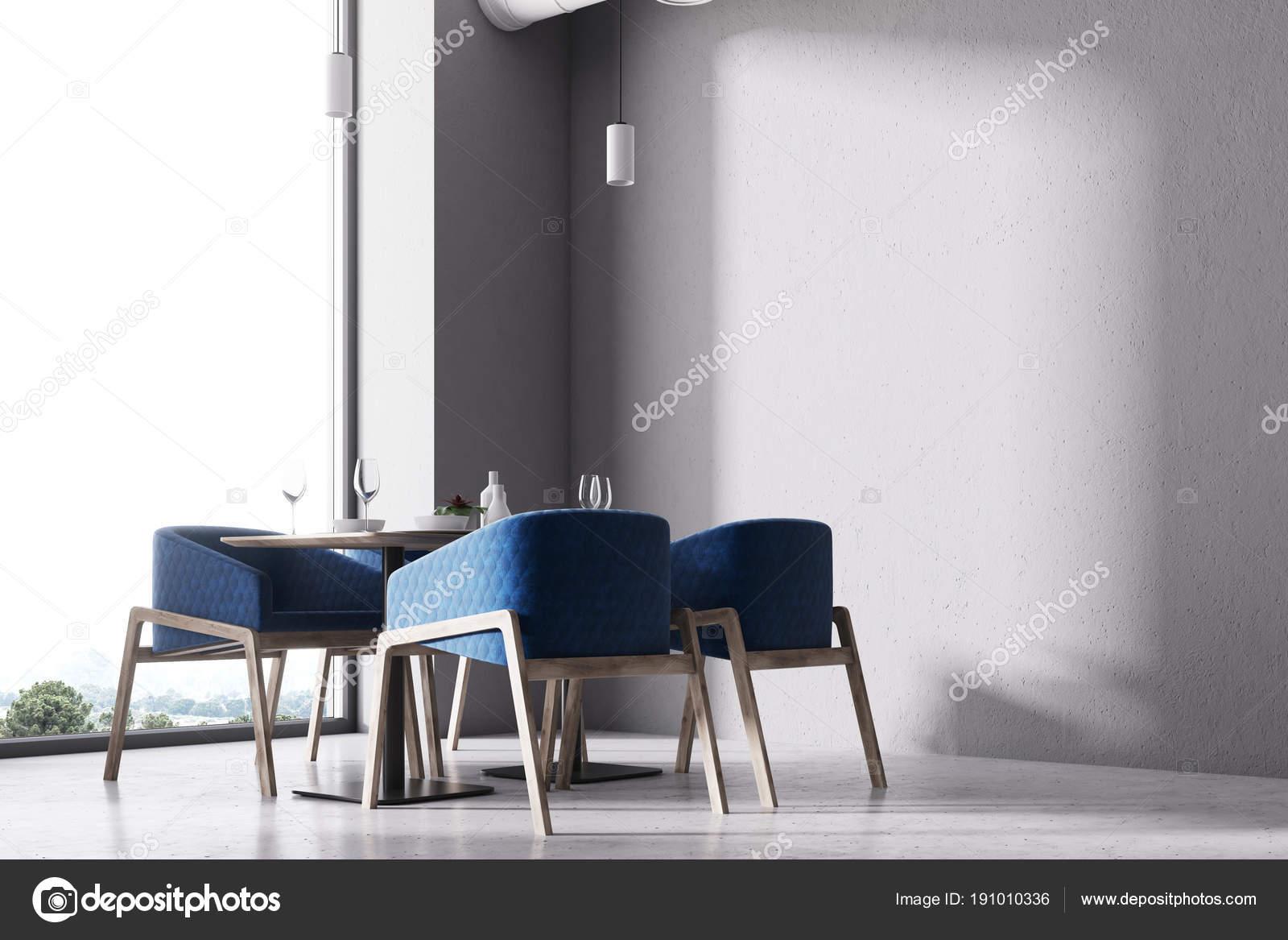 Blue chairs loft cafe corner close up — Stock Photo © denisismagilov ...