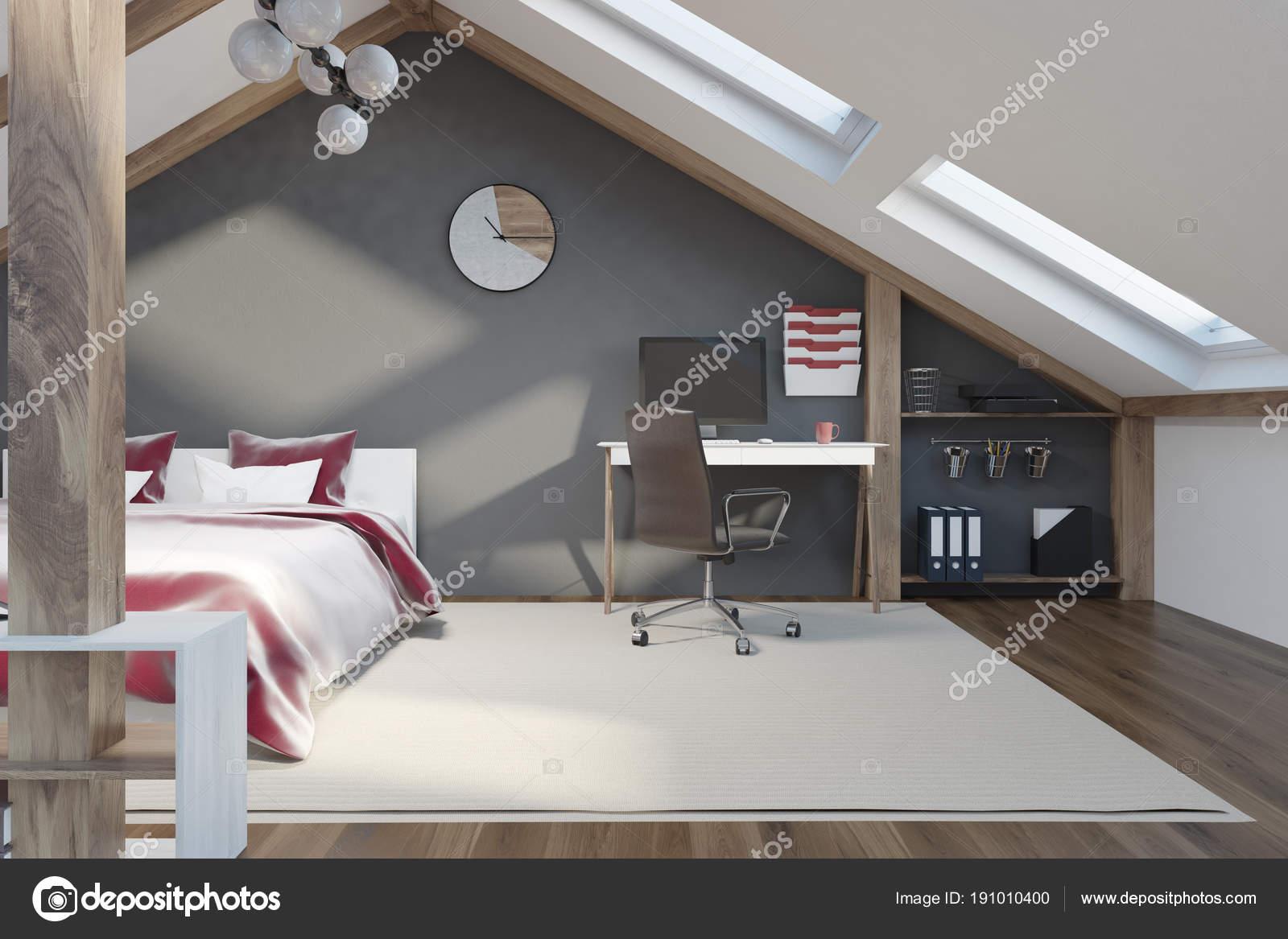 Elegante grigio camera da letto in mansarda — Foto Stock ...