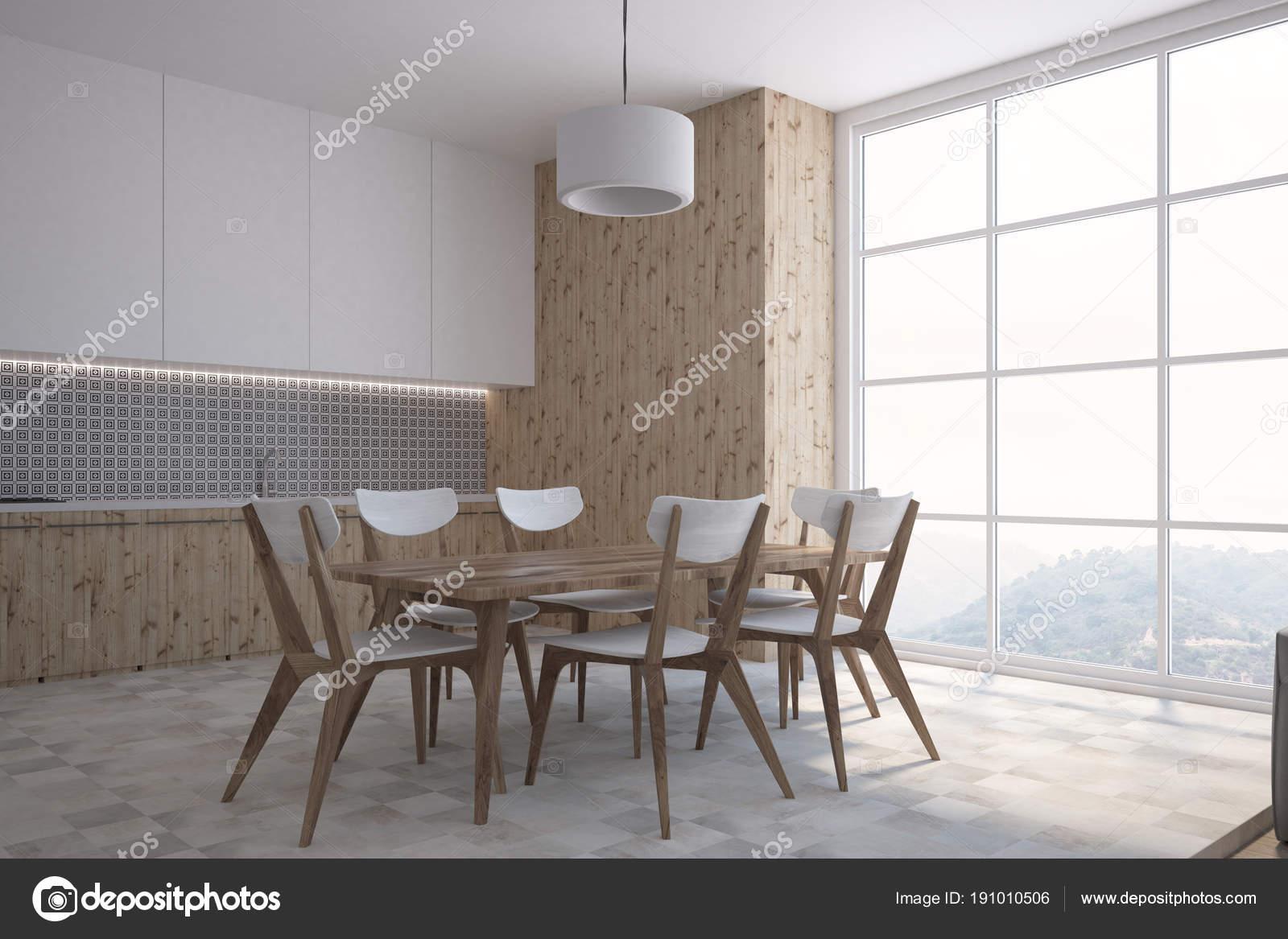 Graue Wand Muster Küche Esszimmer Seitenansicht — Stockfoto ...