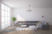 Fotografie White living room scandinavian style