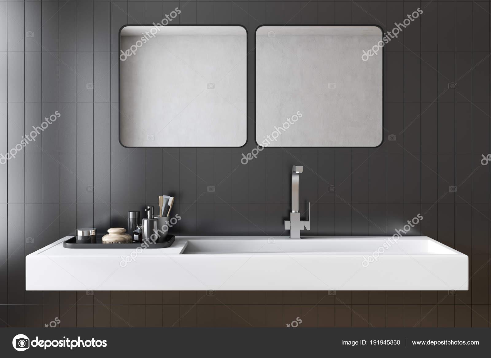 Schwarze Fliesen Bad Waschbecken Interieur — Stockfoto ...