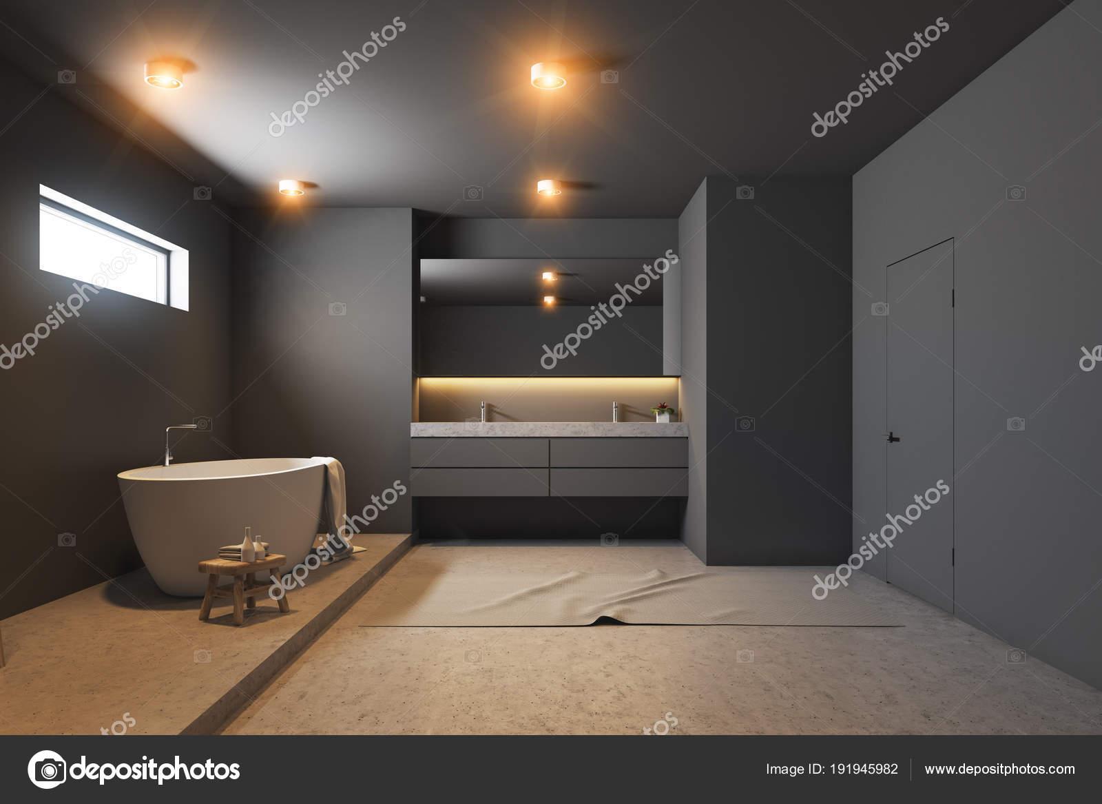 Salle de bains gris foncé intérieur, blanc baignoire, bois ...