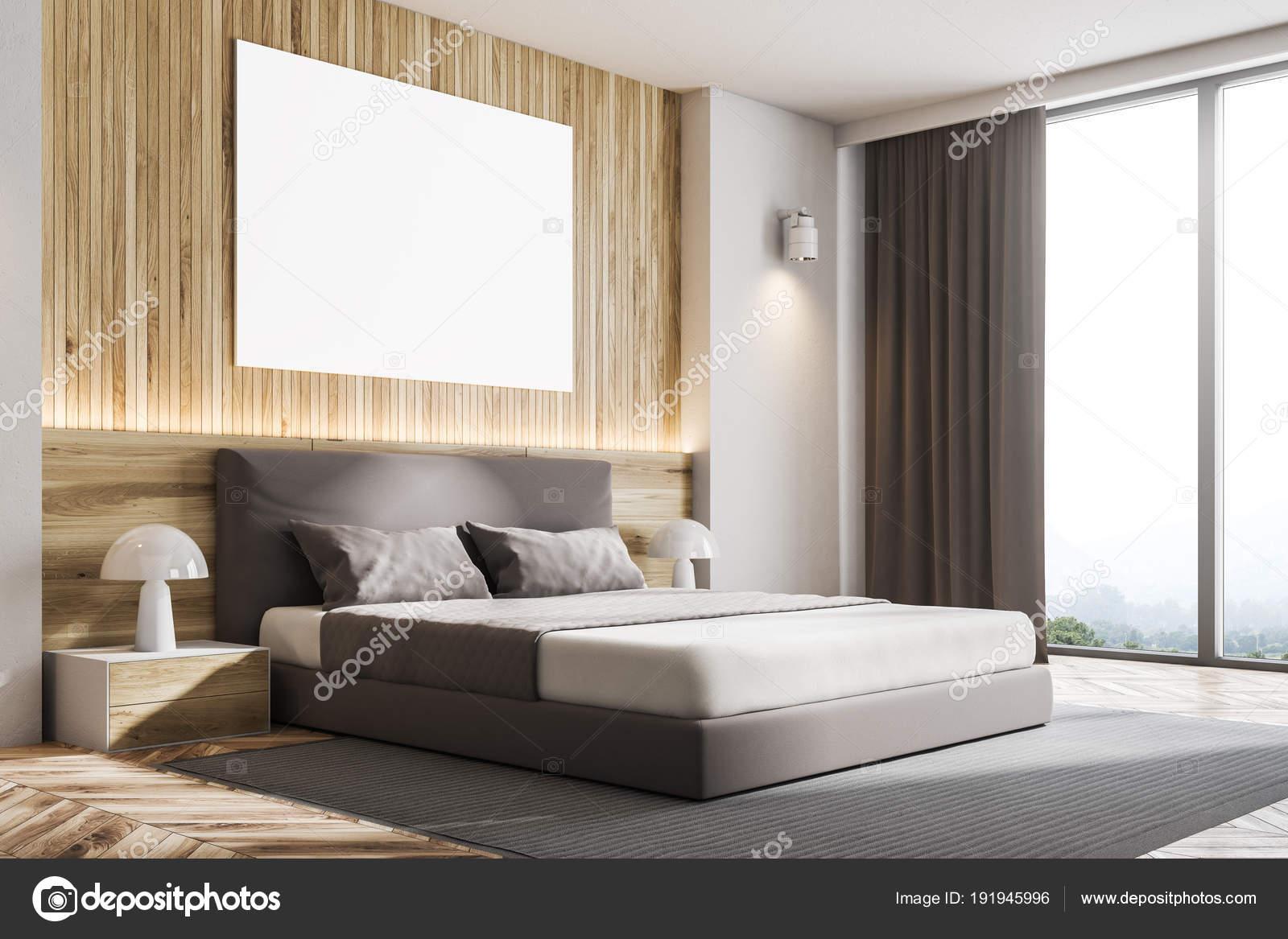 Angolo della camera da letto parete in legno con poster — Foto Stock ...