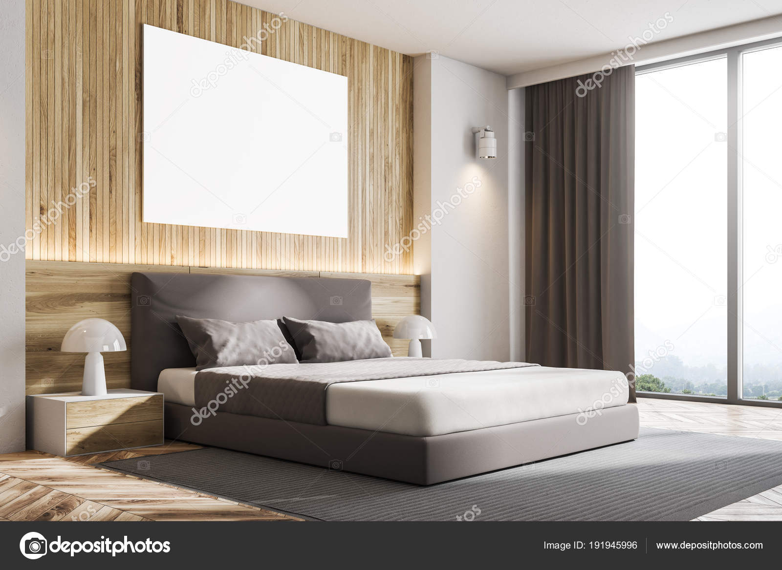 Houten muur slaapkamer hoek met poster — Stockfoto © denisismagilov ...