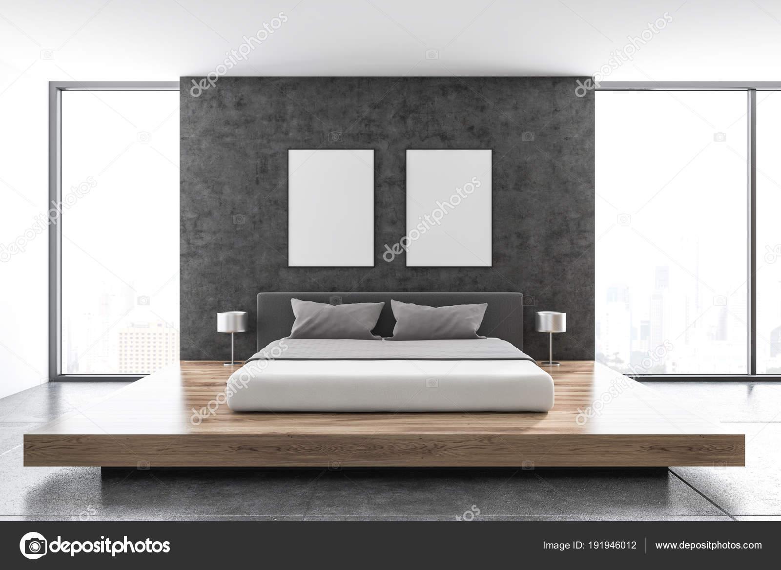 Betonnen muur Scandinavische slaapkamer, posters — Stockfoto ...