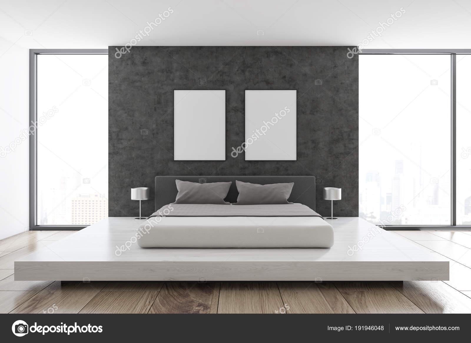 Dunkler Fußboden Schlafzimmer ~ Skandinavische schlafzimmer betonwand banner u stockfoto