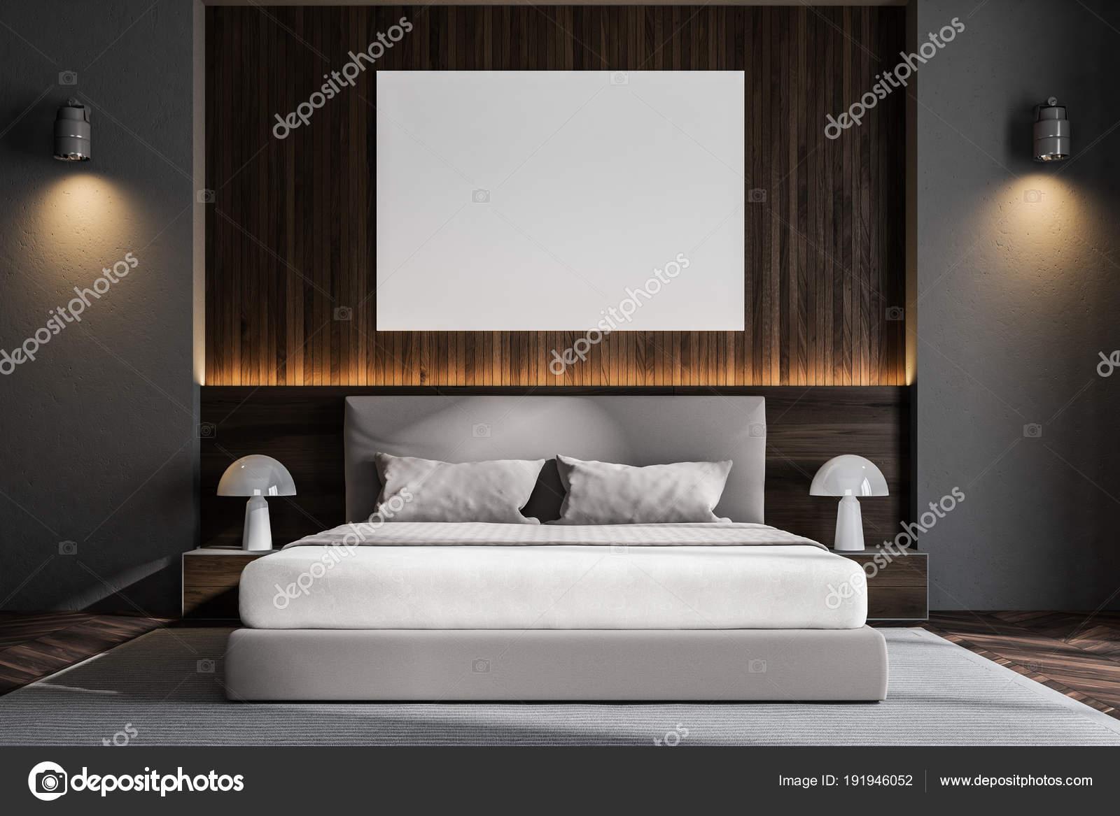 Camera da letto scandinavo di parete di legno scuro poster foto stock denisismagilov 191946052 - Poster camera da letto ...