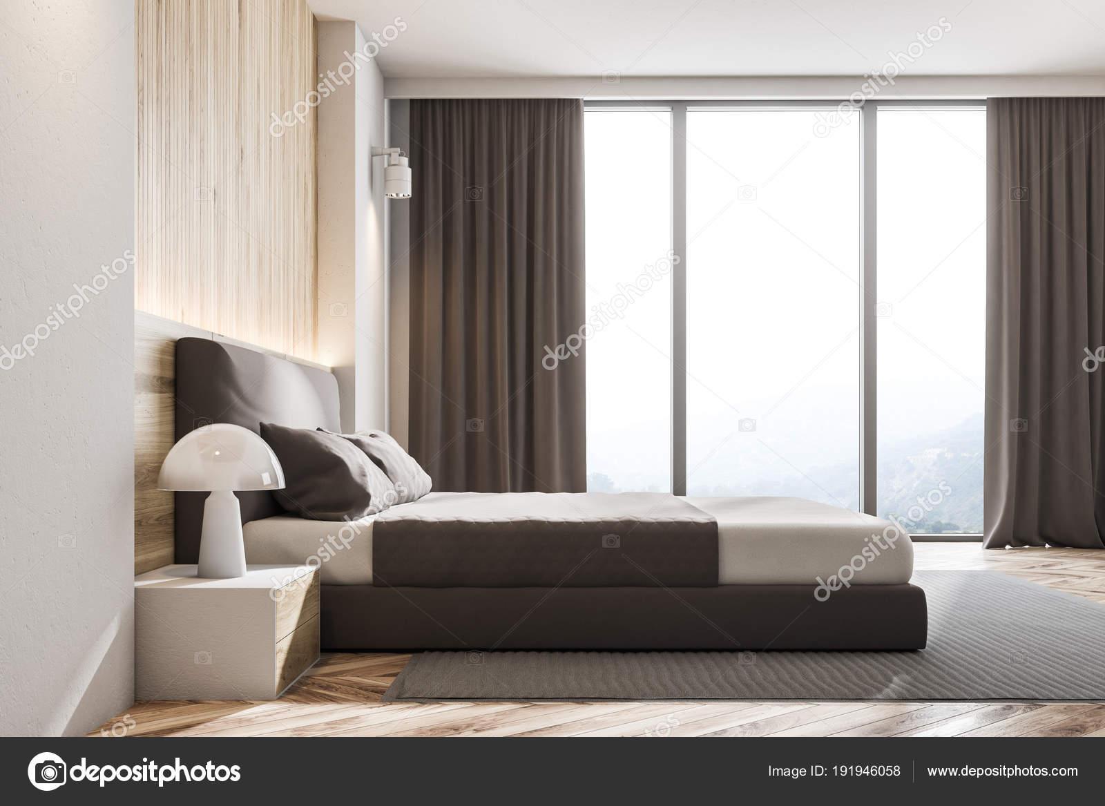 Holzwand Skandinavischen Schlafzimmer, Seitenansicht U2014 Stockfoto