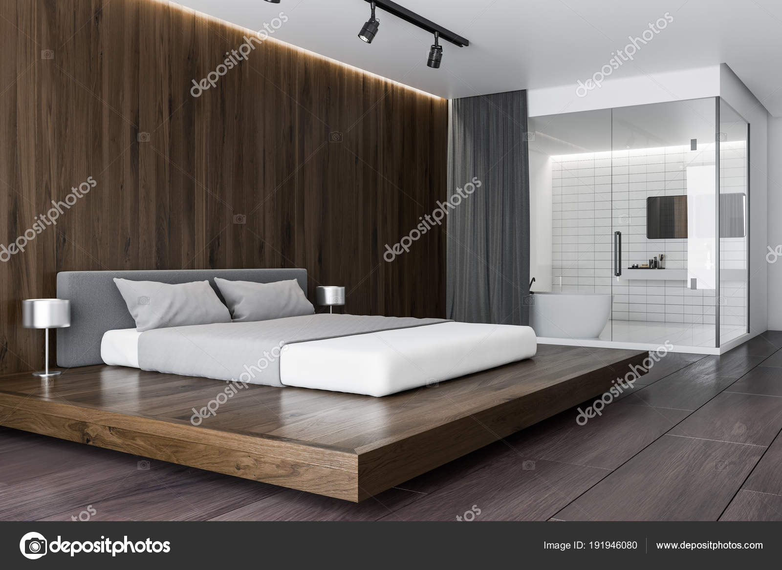 coin chambre de luxe en bois foncé — photographie denisismagilov