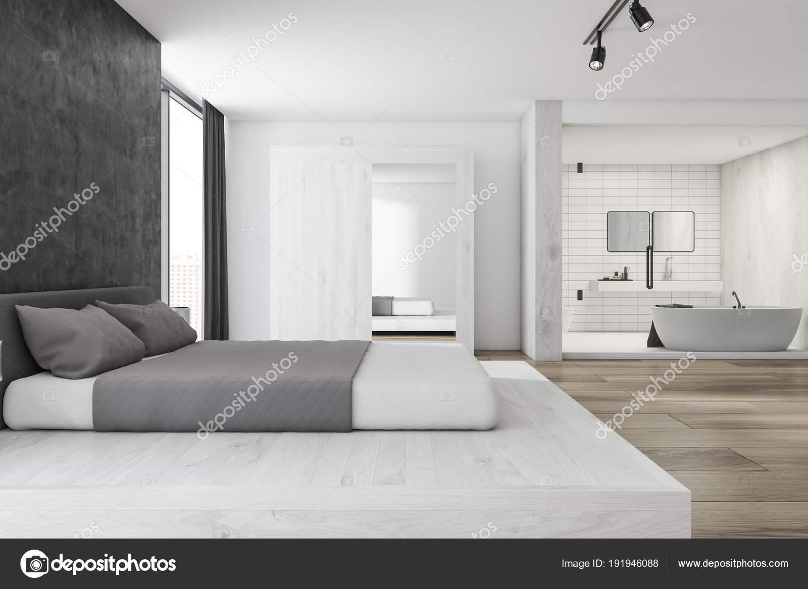 Moderne Schlafzimmer und Badezimmer Interieur — Stockfoto ...