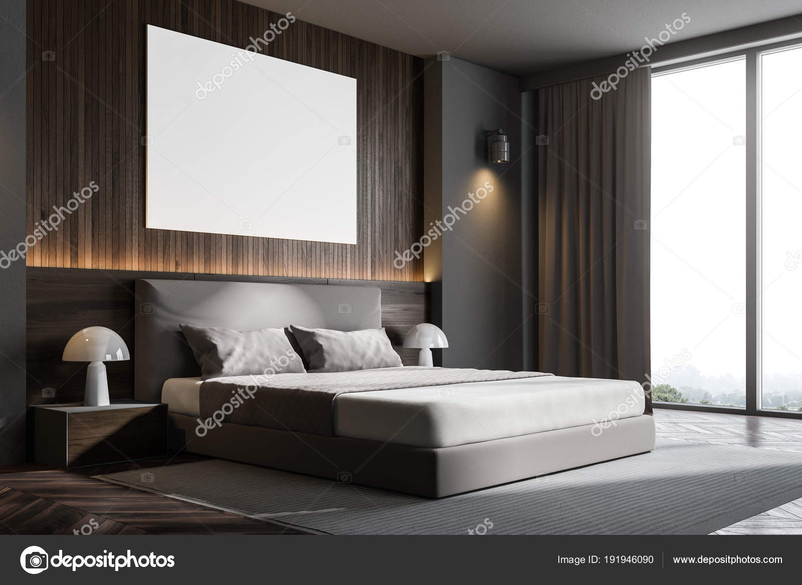 Dunkles Holz Schlafzimmer Wandecke mit poster — Stockfoto ...