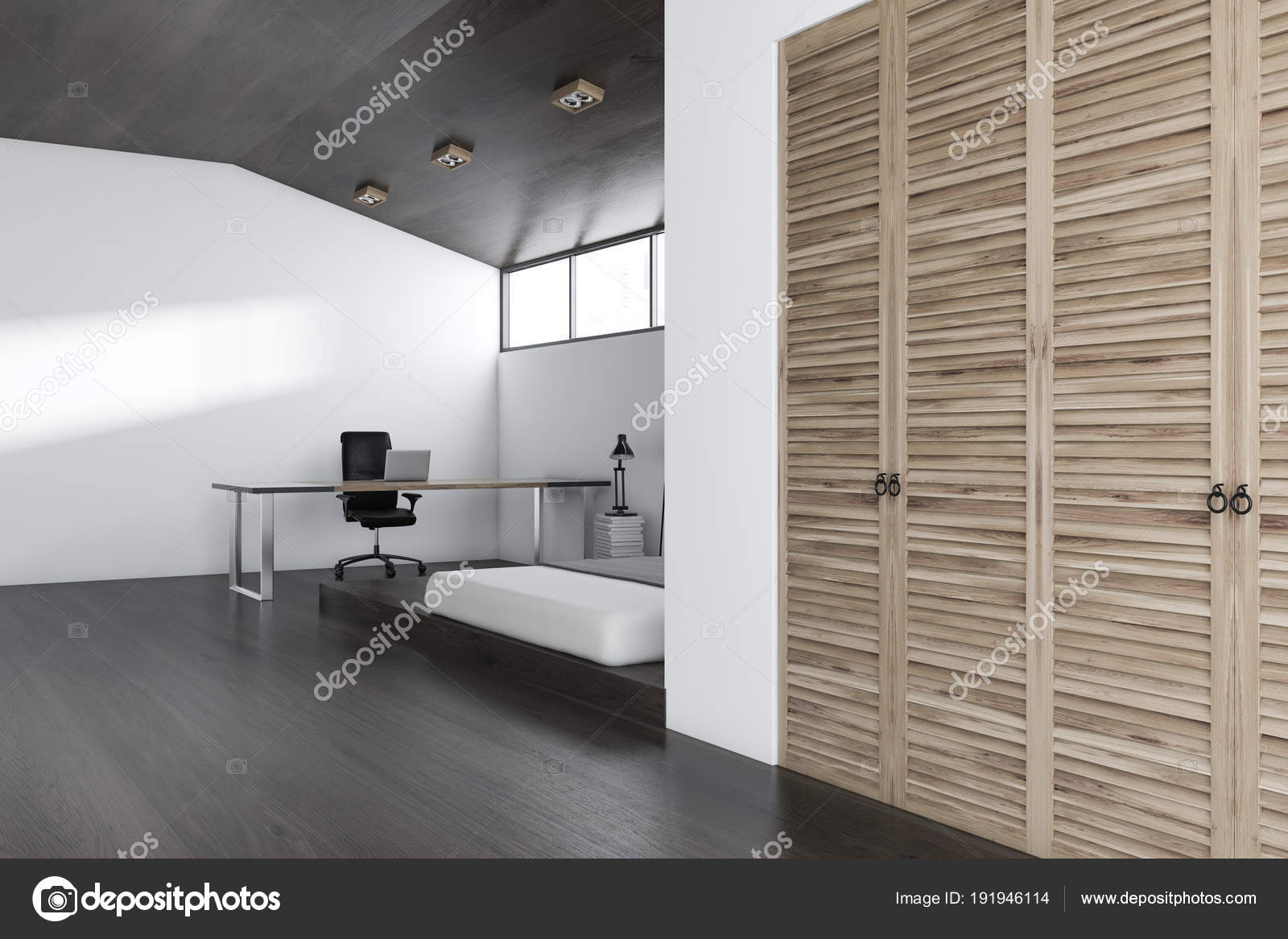 White Wall Bedroom And Home Office Interior With A Concrete Floor, A King  Size Bed And A Wardrobe. A Computer Desk. 3d Rendering Mock Up U2014 Photo By  ...