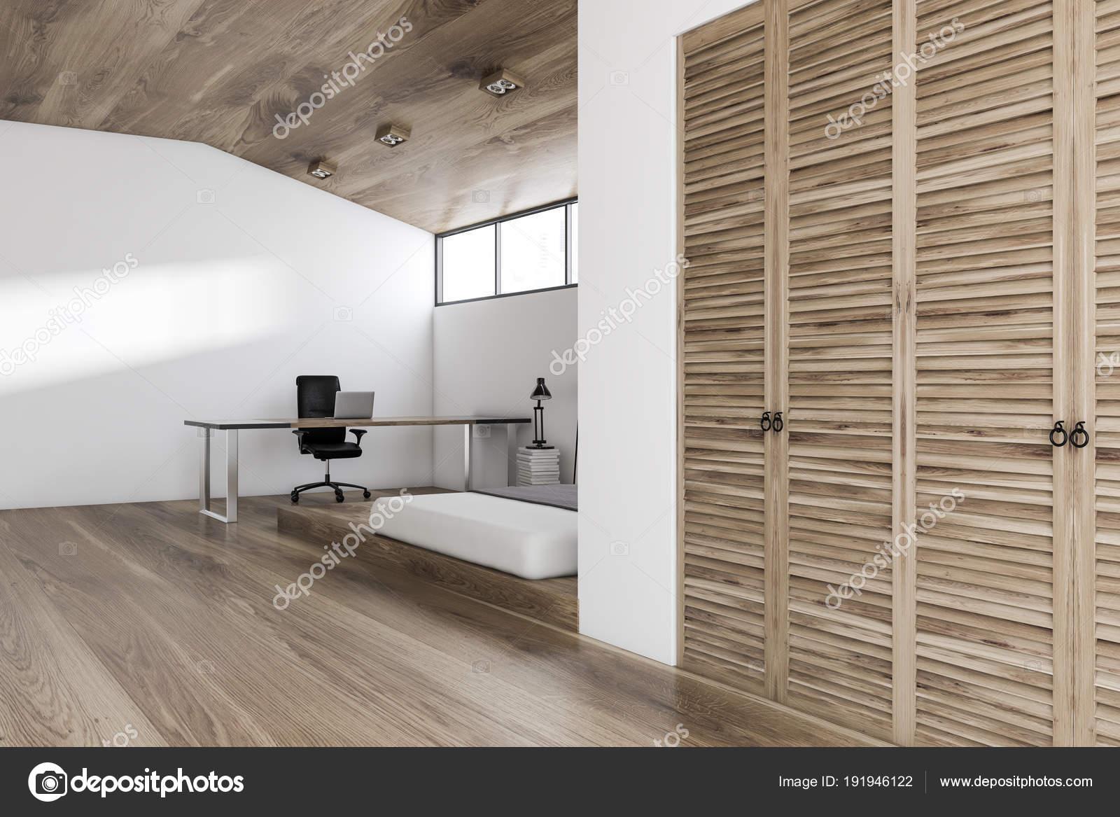 Houten Slaapkamer Kast : Witte muur slaapkamer en kantoor aan huis hoek hout u2014 stockfoto