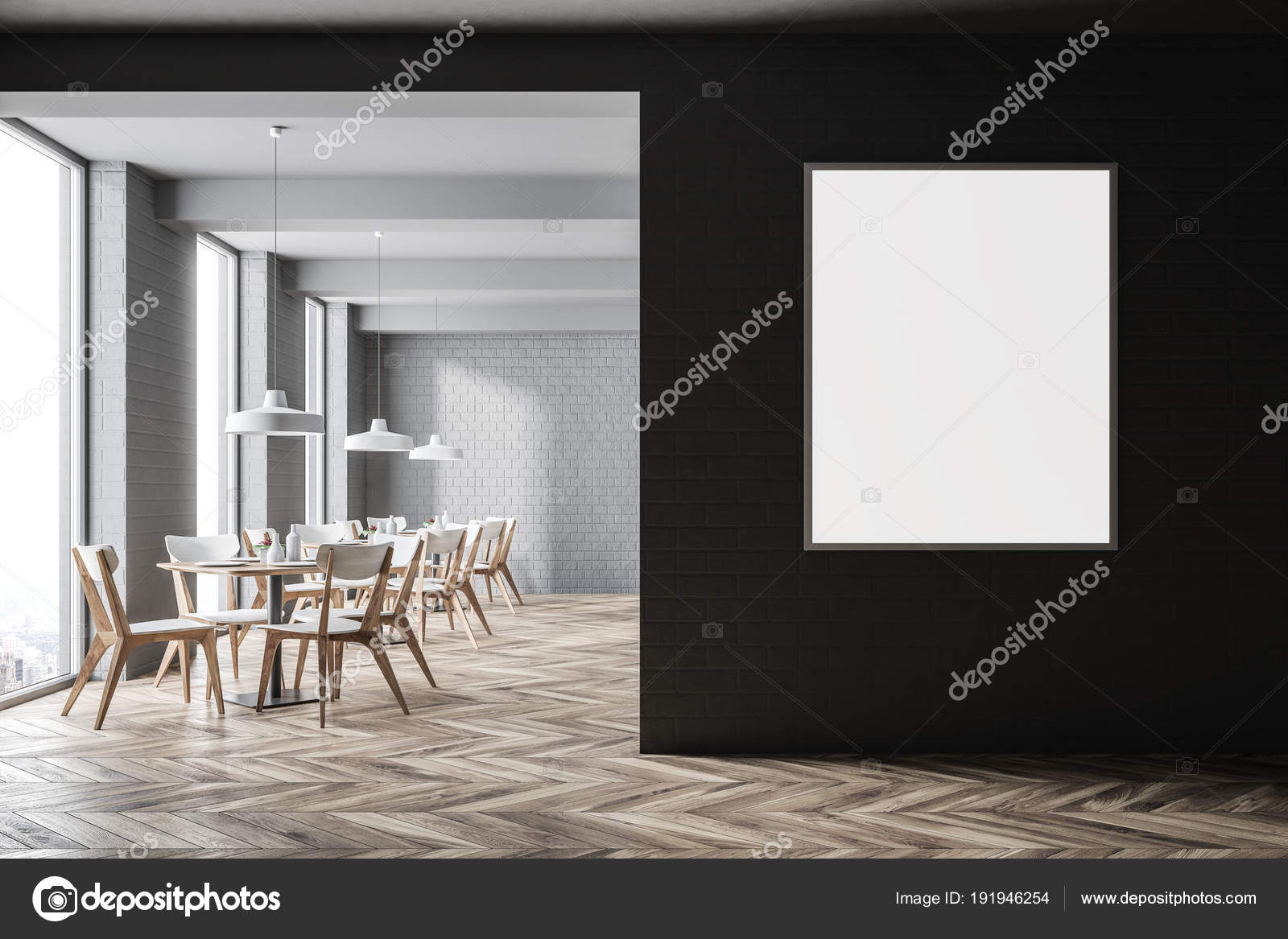 White brick modern cafe interior poster u stock photo
