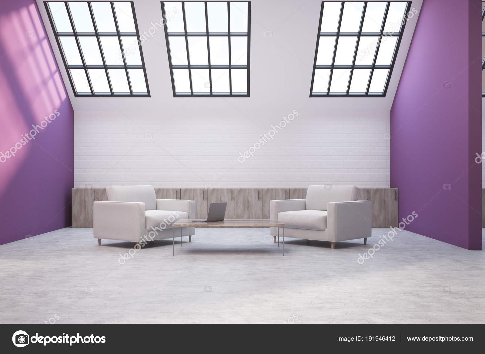 Purple and white attic lving room interior — Stock Photo ...