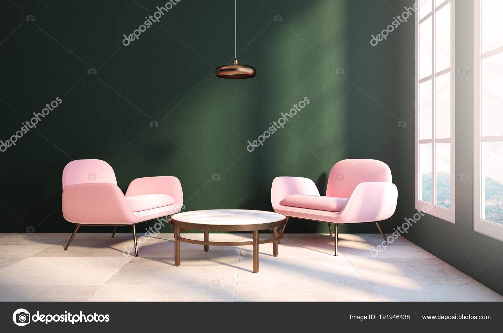 Groene woonkamer, twee roze Fauteuils, tabel — Stockfoto ...