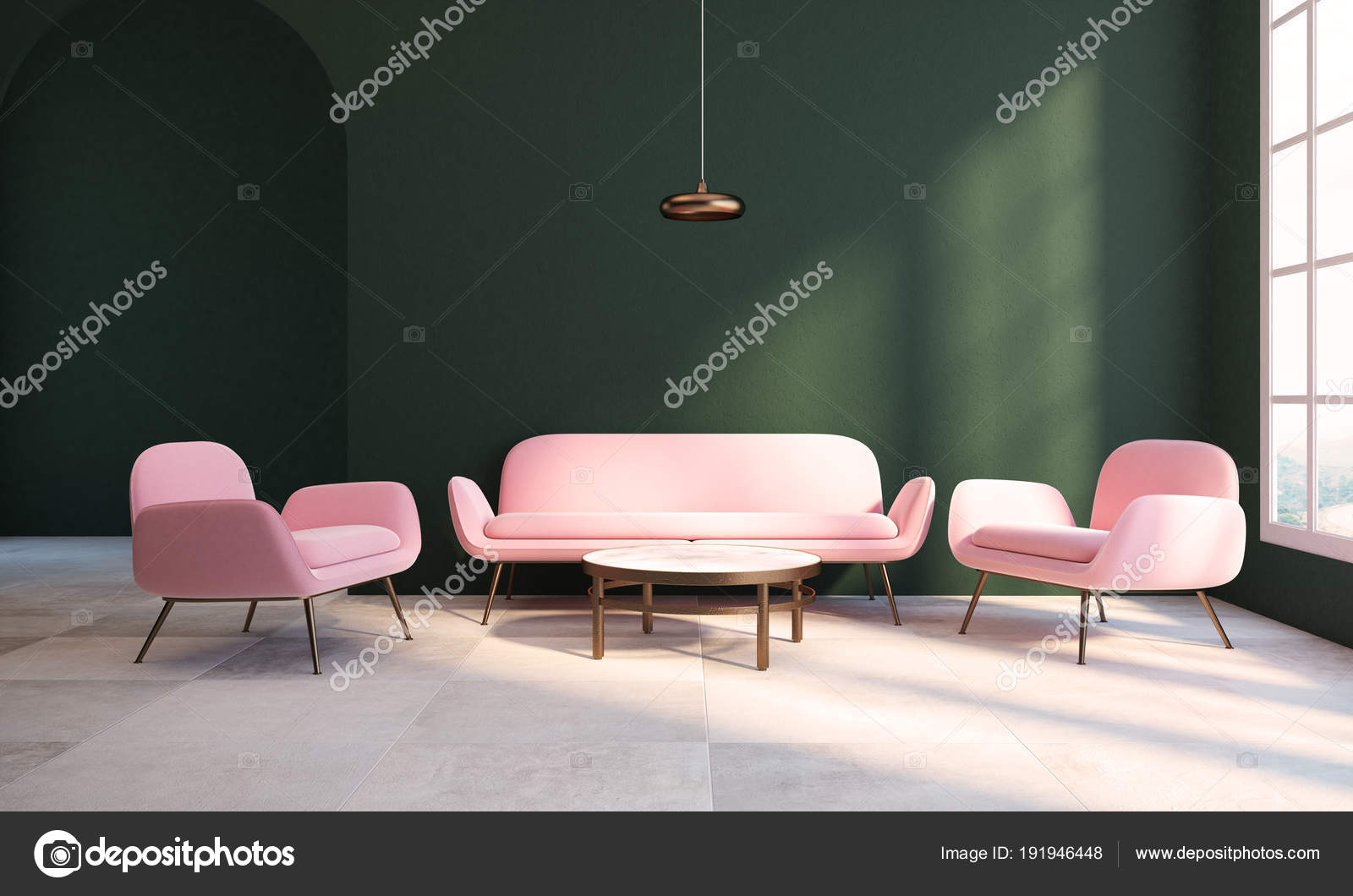 Empty green living room, pink armchair and sofa — Stock Photo ...