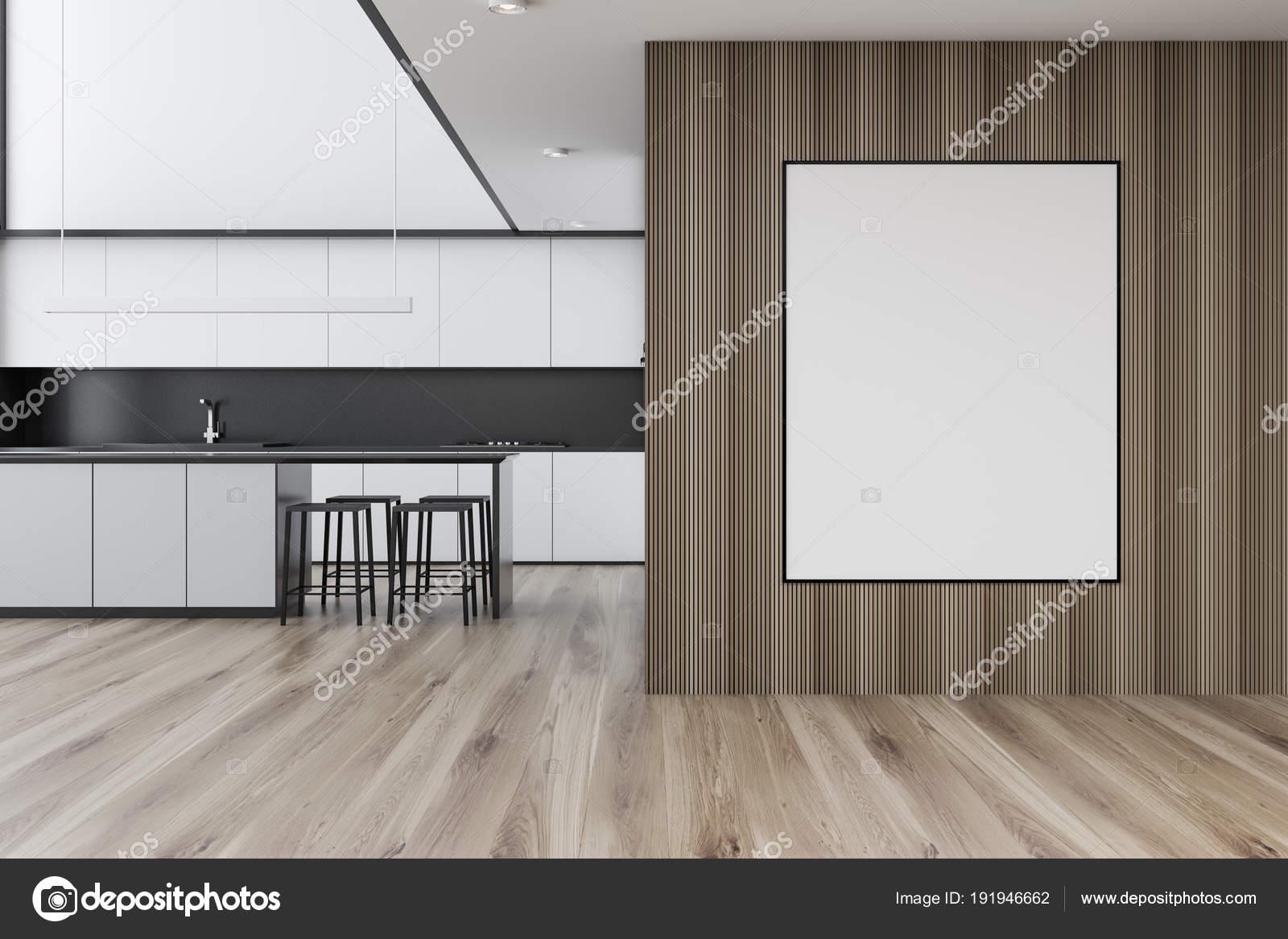 Cocina blanca con el cartel enmarcado en la pared — Foto de stock ...