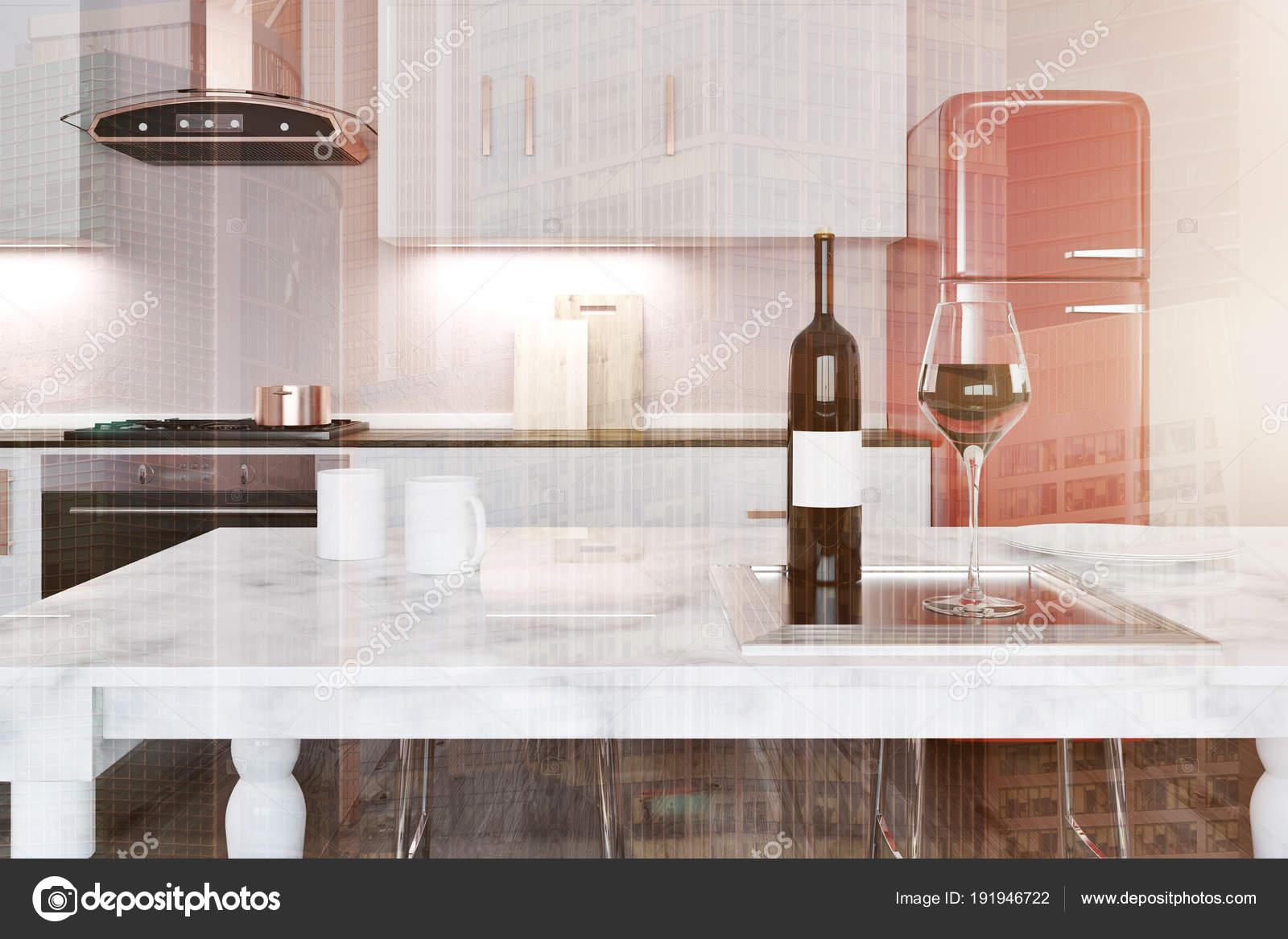White marble kitchen island, red fridge toned — Stock Photo ...