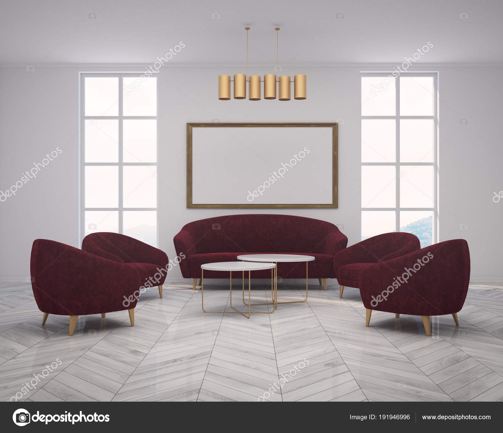 White living room red sofa, armchairs, poster — Stock Photo ...