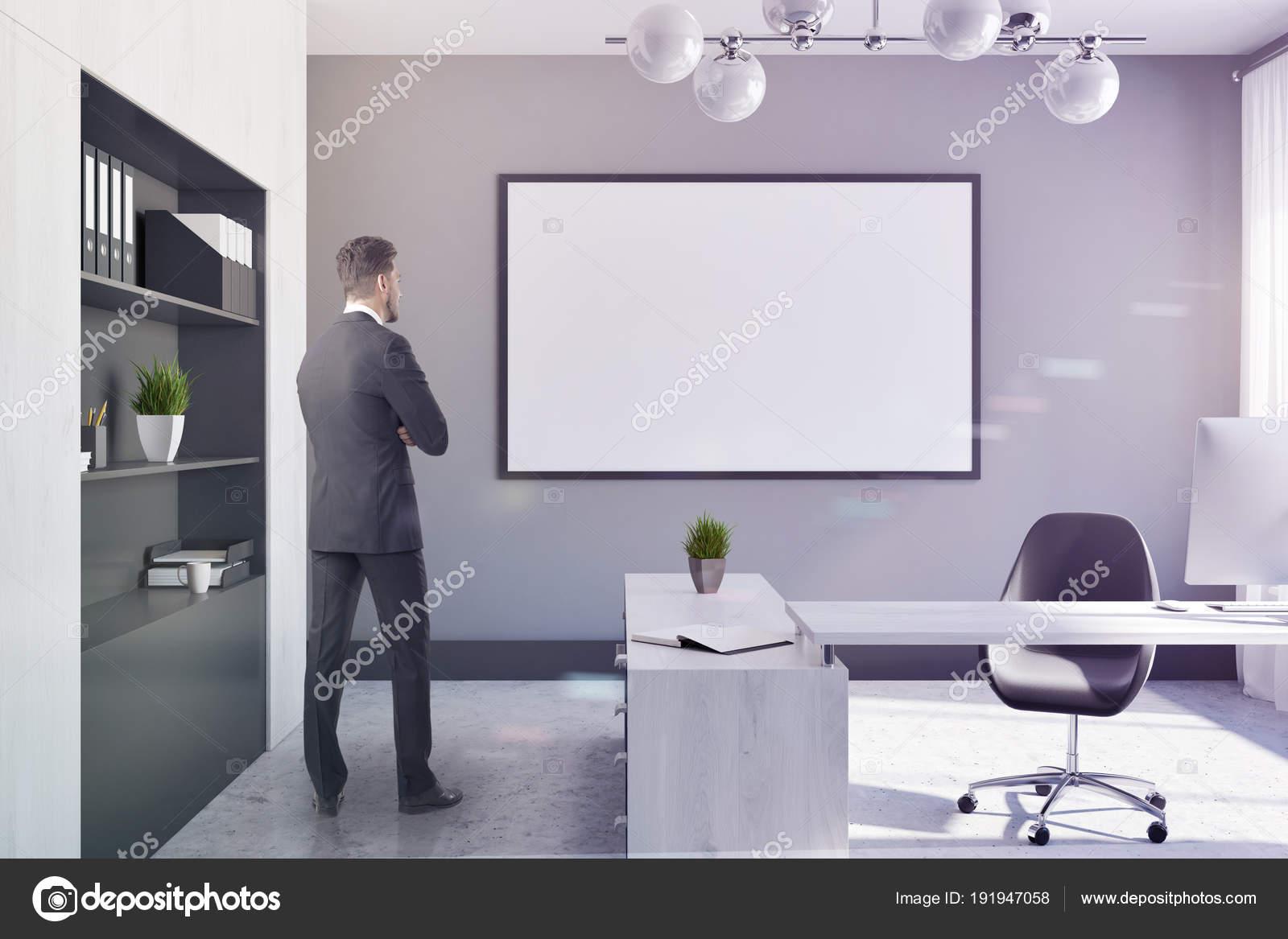 Ufficio Bianco E Grigio : Ufficio manager azienda bianco e grigio poster tonnellata u2014 foto