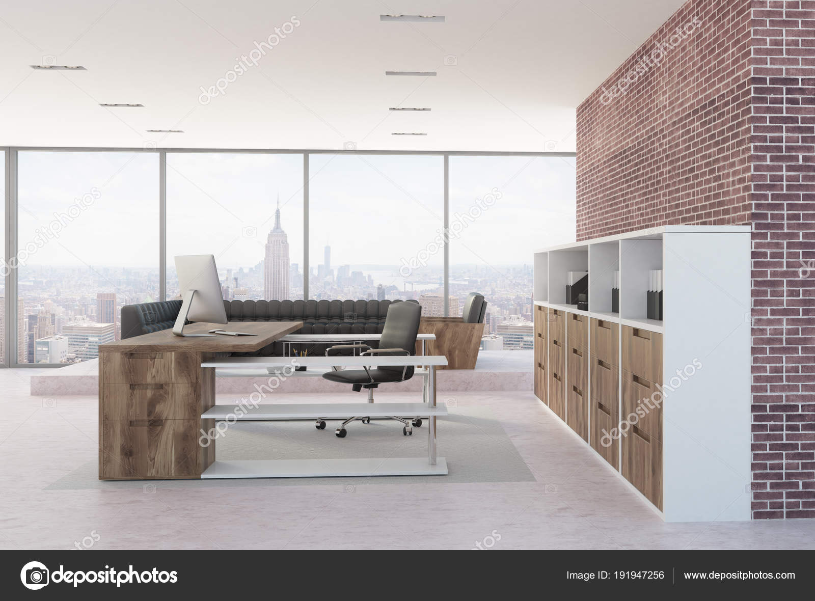 Brick Office Of A Company Leader With Concrete Floor Loft Windows And Dark Wooden Furniture Black Sofa In The Background 3d Rendering Mock Up Photo