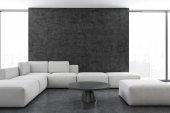 Fotografie Interiér, bílé pohovce v obývacím pokoji