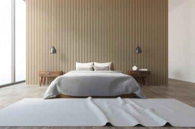 Wooden wall loft bedroom interior, carpet