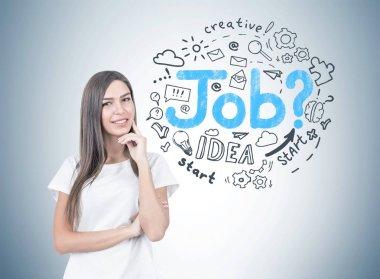 Positive young woman portrait, job search