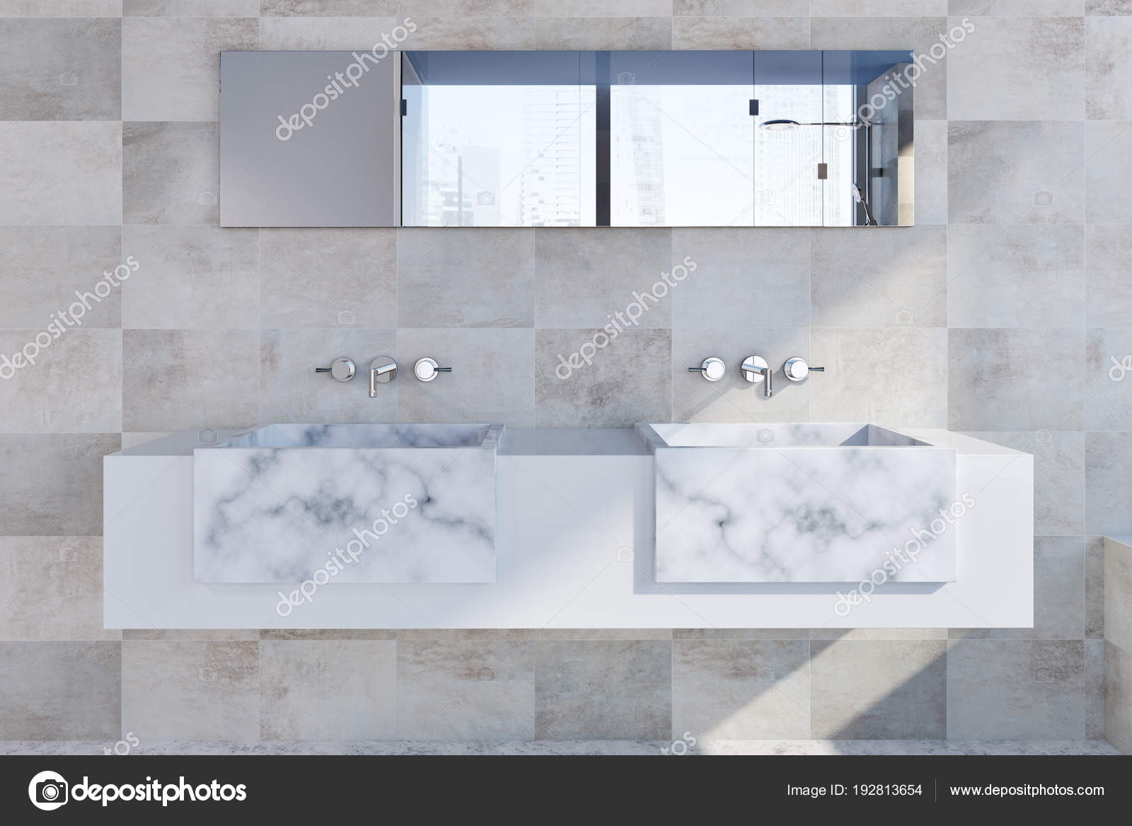 Marmo bianco doppio lavandino bagno u foto stock denisismagilov