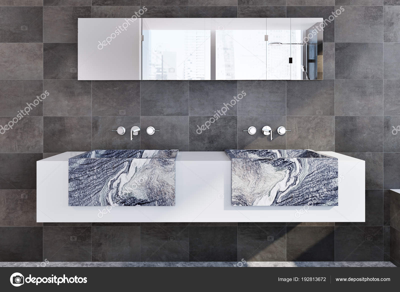 Zwarte marmeren dubbele wastafel badkamer u2014 stockfoto