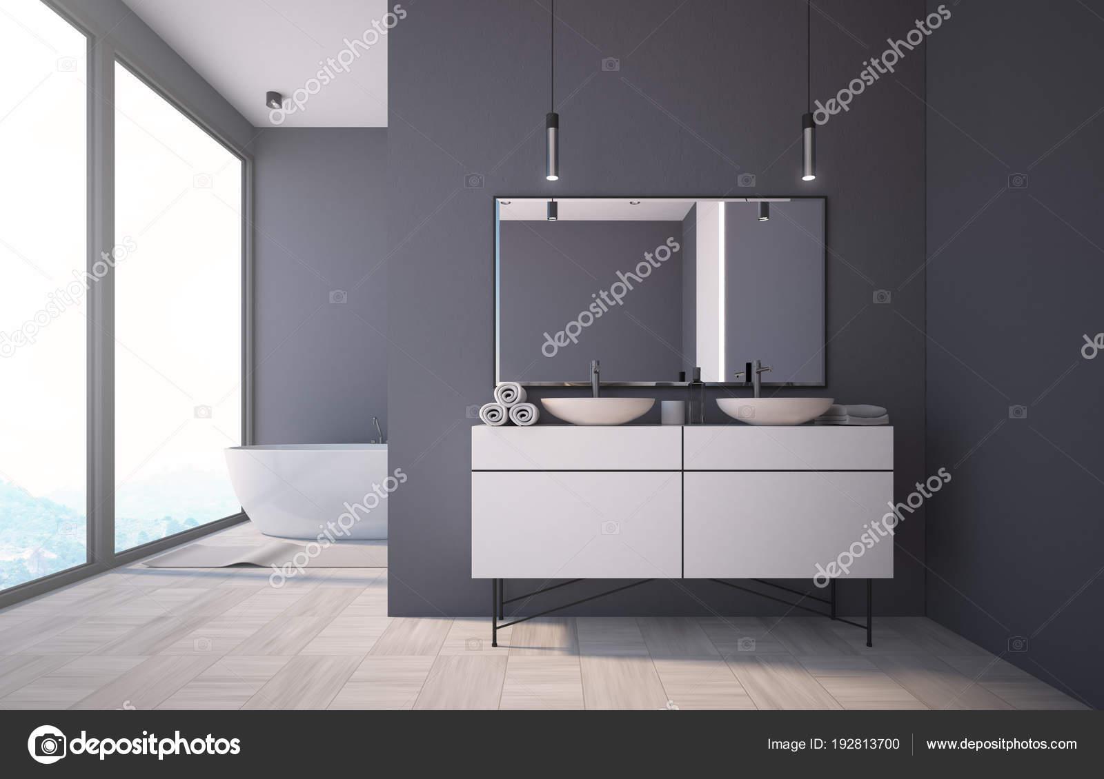 Lavabo interni panoramica bagno grigio scuro u2014 foto stock