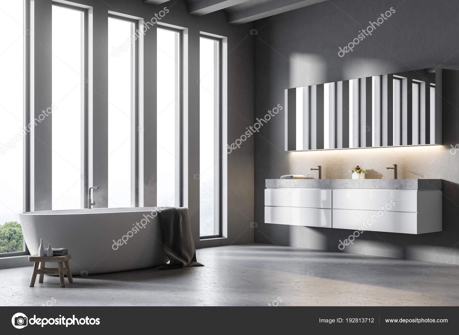 Vasca Da Bagno Con Lavandino : Bagno doppio lavabo grigio con vista laterale vasca da bagno u2014 foto