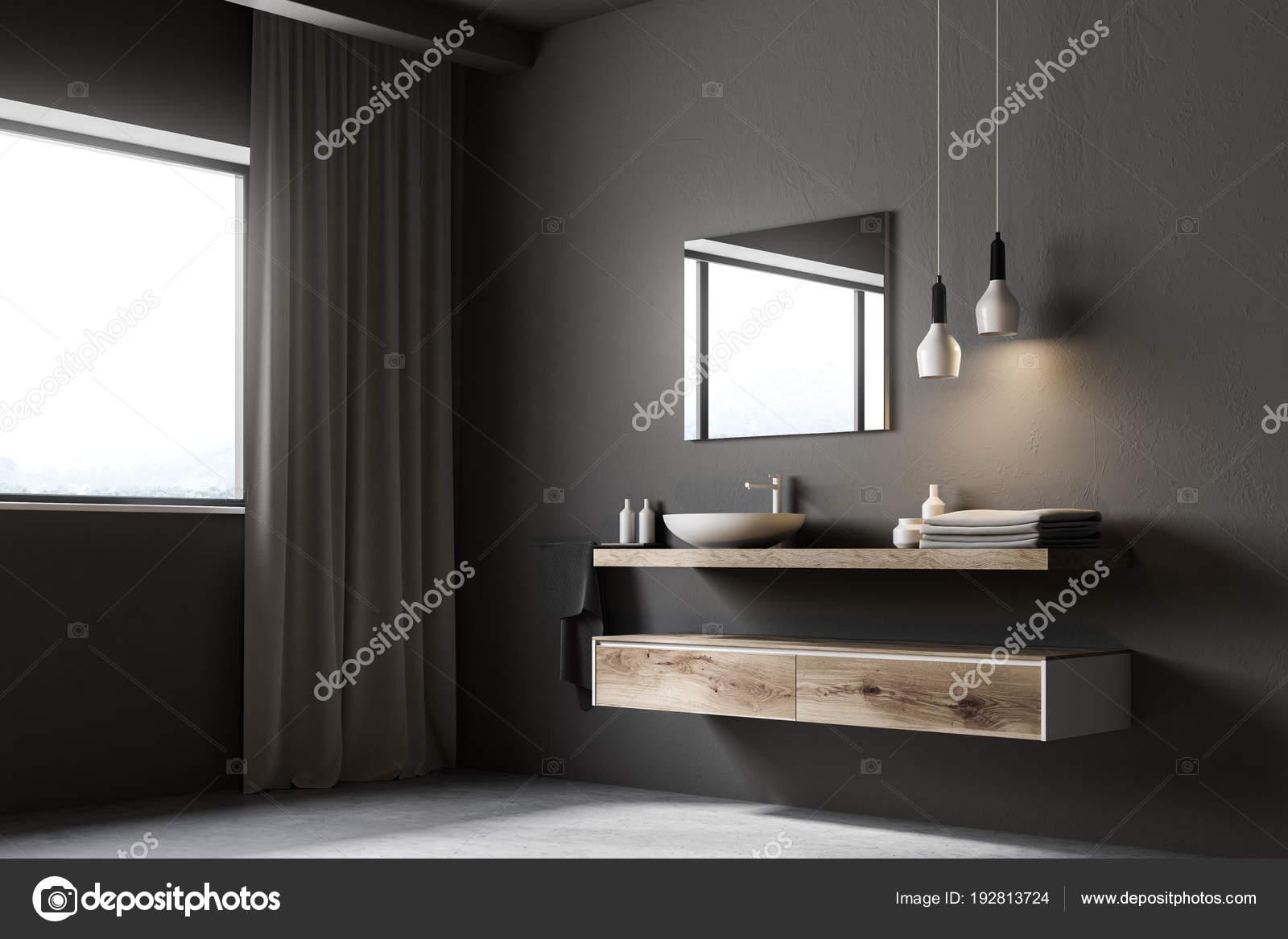 Grijze badkamer wastafel, vierkante spiegel, venster — Stockfoto ...