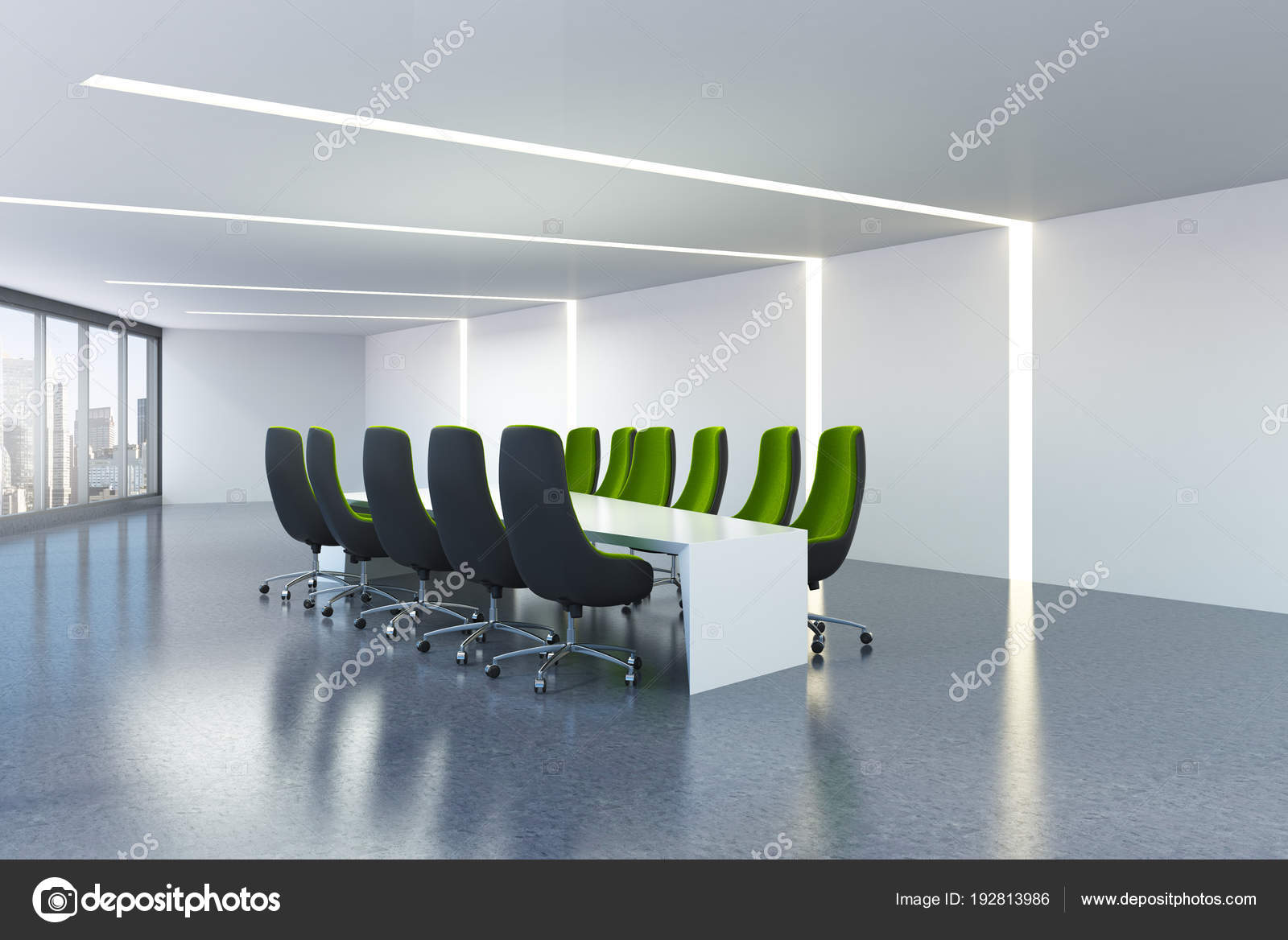 White Meeting Room Green Office Chairs Stock Photo
