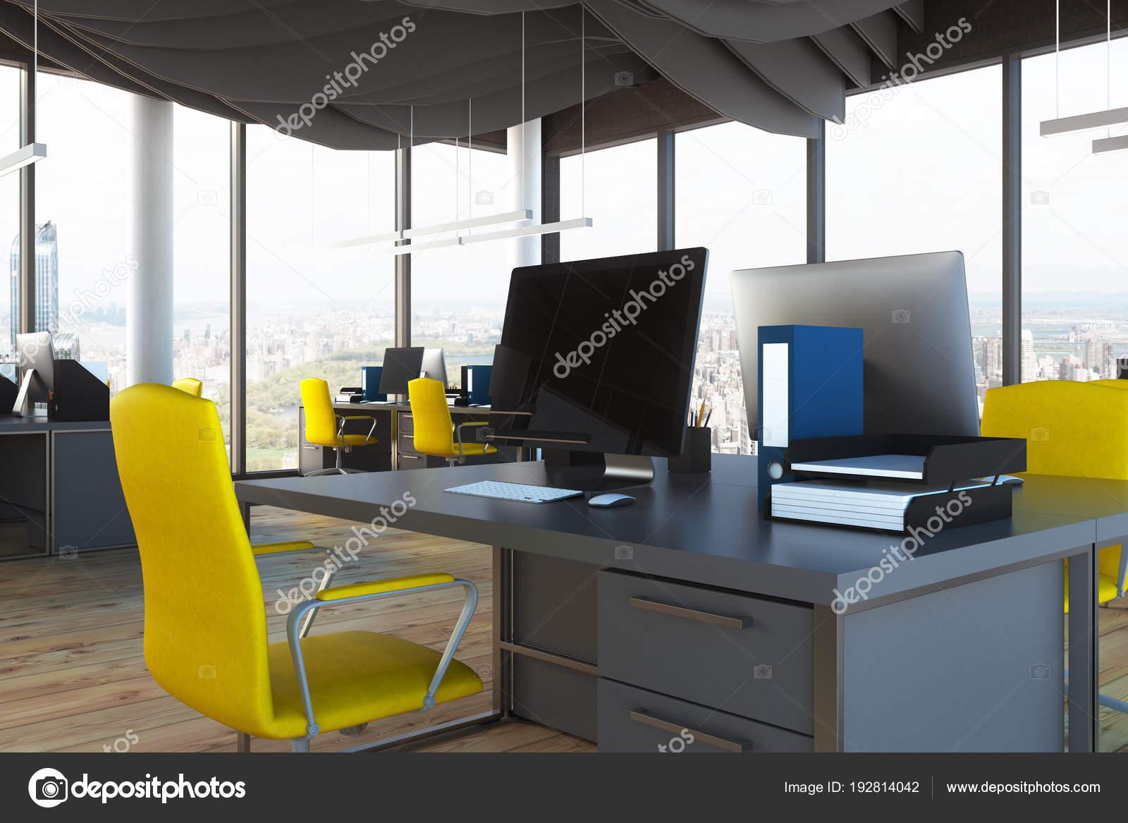 Bureau espace ouvert jaune chaise bouchent u photographie