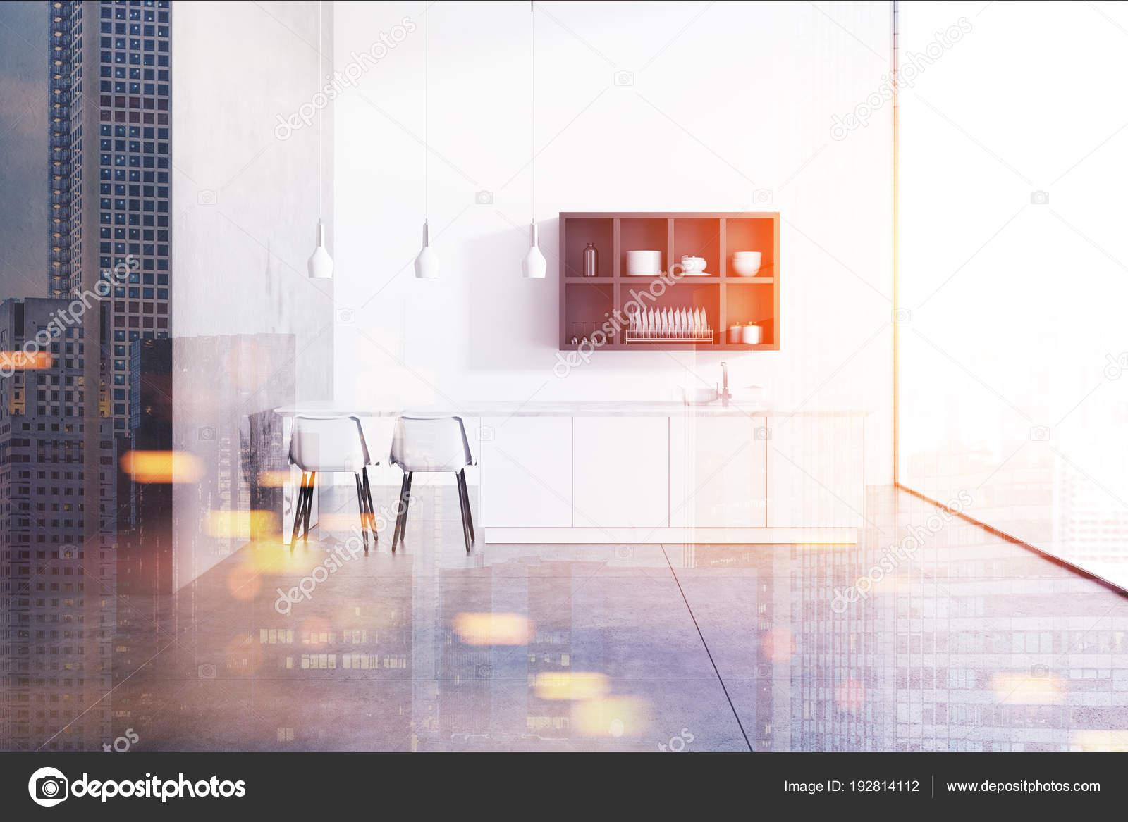 Interiore della cucina panoramica grigia e bianca e tonica — Foto ...