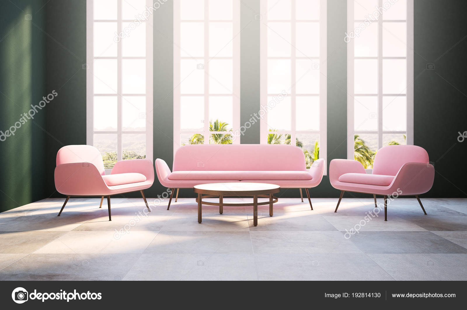 Green living room, pink armchair and sofa, window — Stock ...