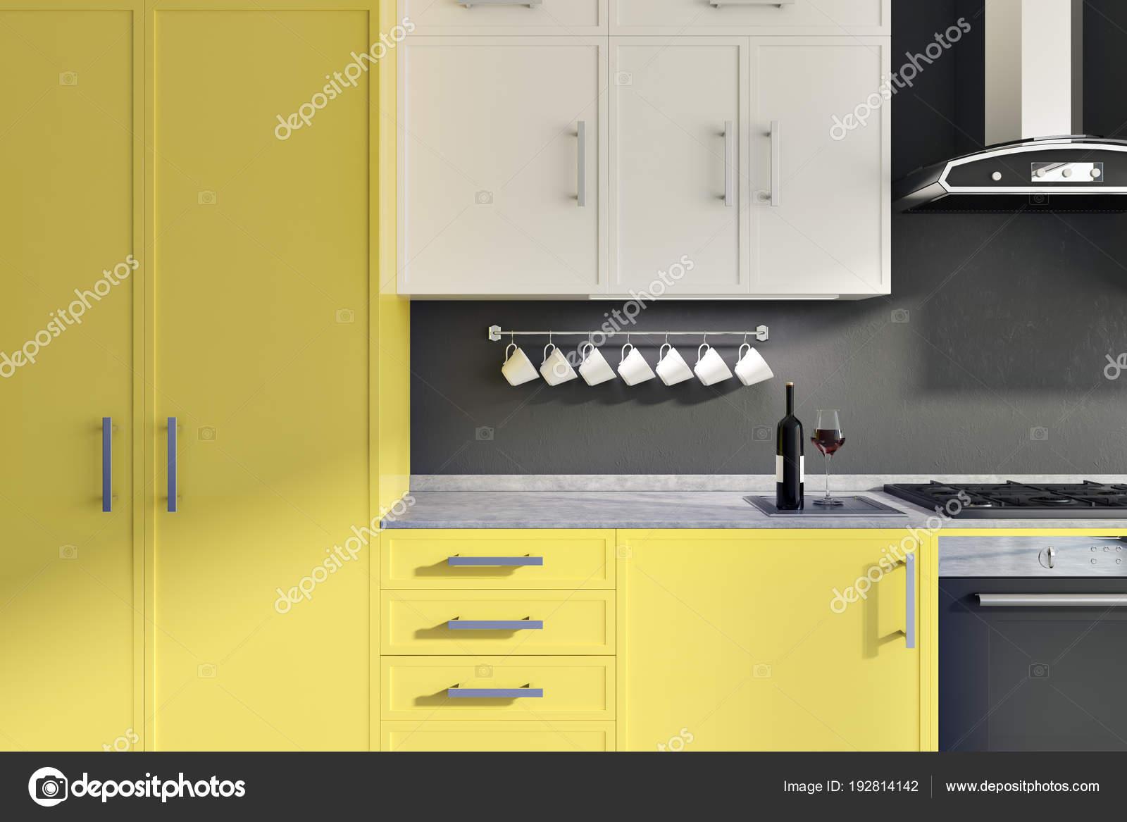 Graue Wand Küche Interieur Mit Gelben Und Weißen Zähler, Ein Schrank, Ein  Waschbecken Und Ein Herd. 3D Rendering U2014 Foto Von Denisismagilov