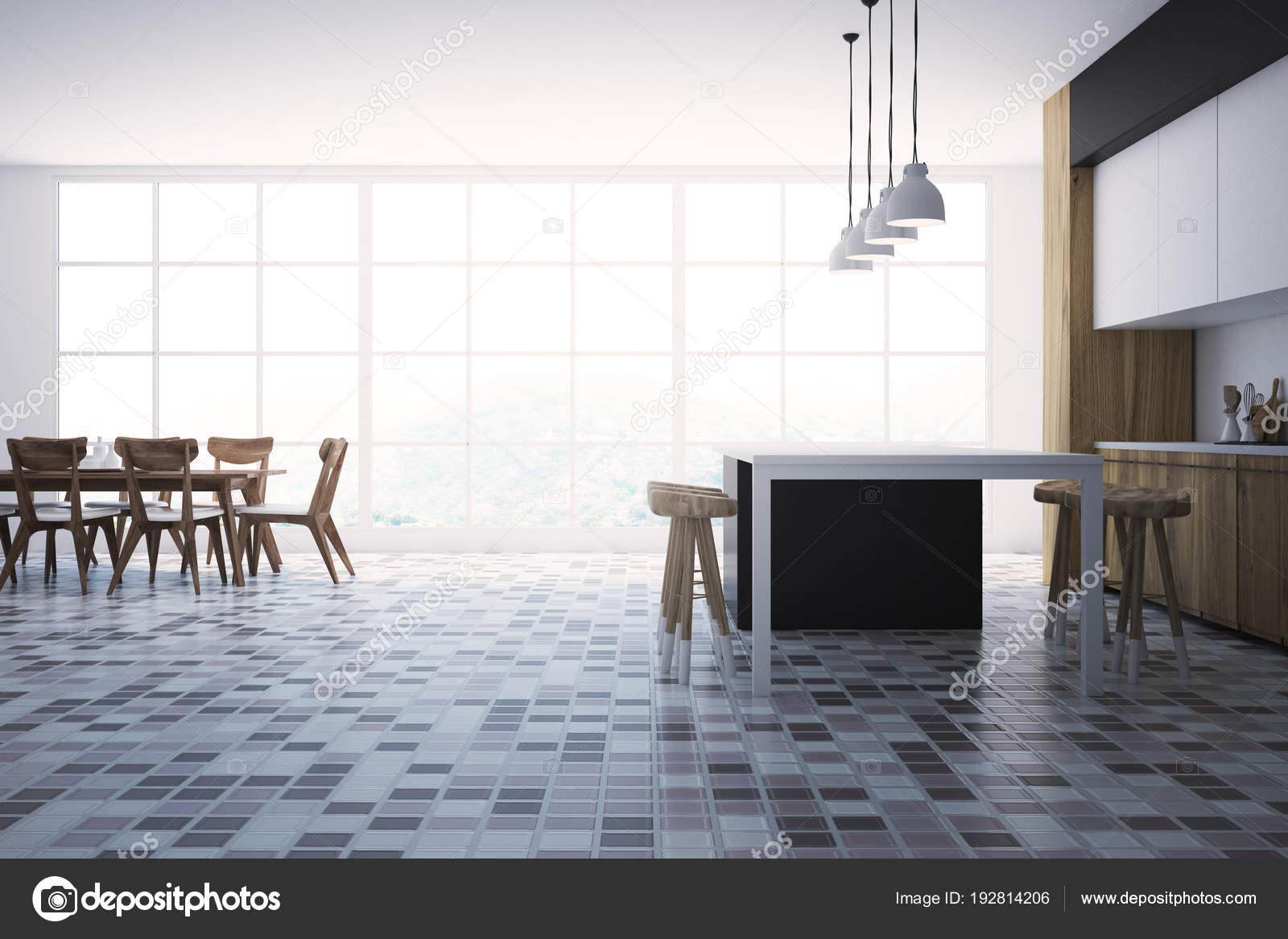Weißer und schwarzer Innenausstattung, Küchentisch ...