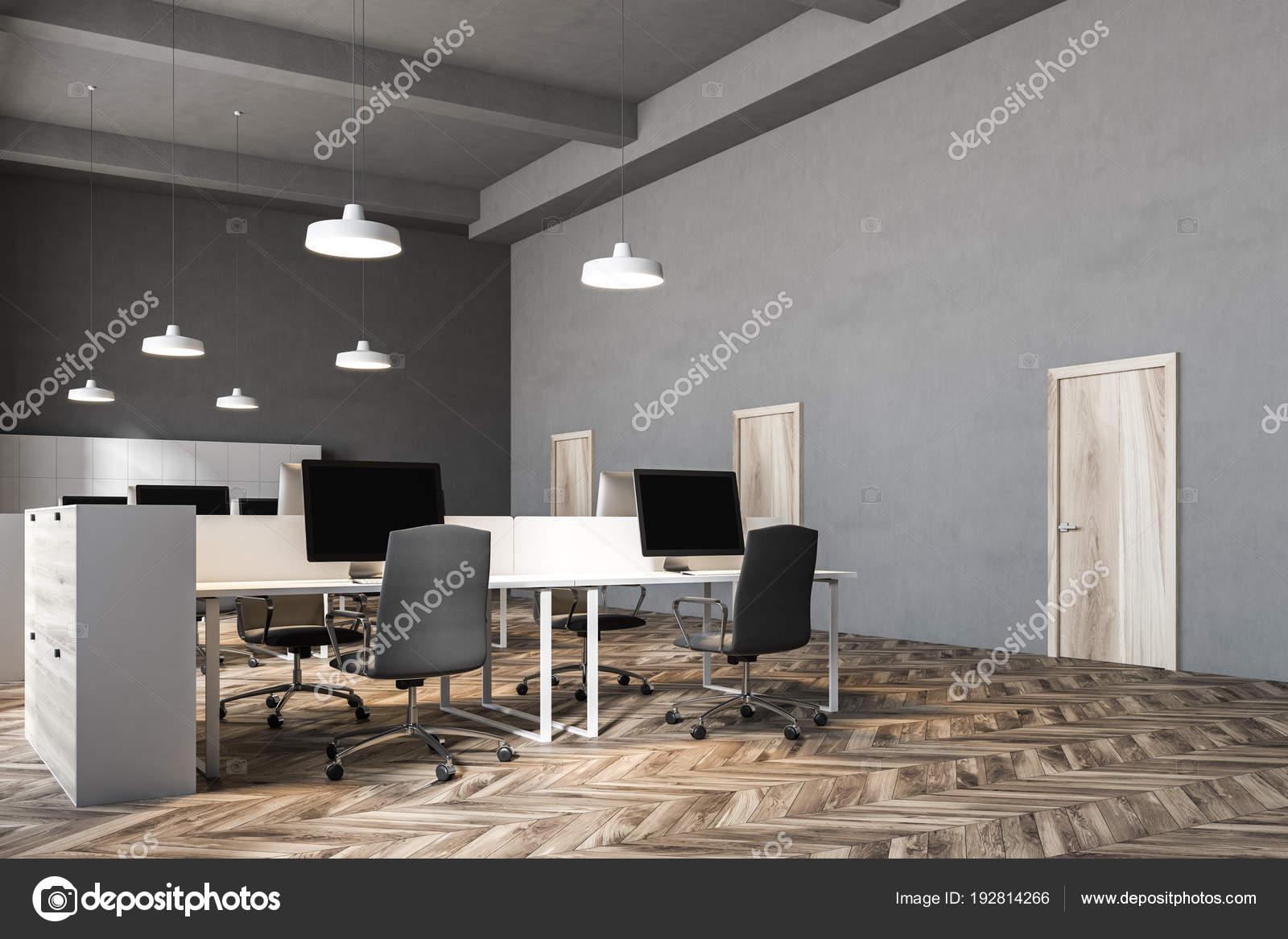 Innenraum von einem dunklen grauen Wand Büroeinrichtung — Stockfoto ...