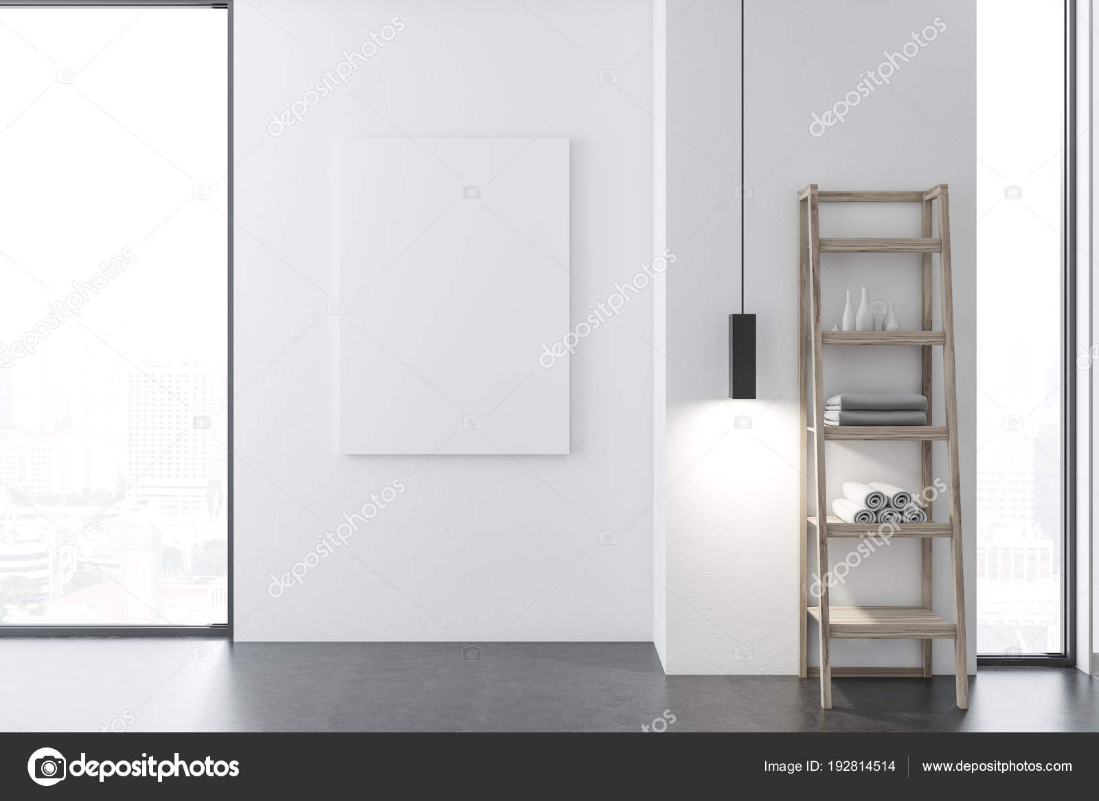 Loft weiß Badezimmer Interieur, Plakat — Stockfoto © denisismagilov ...