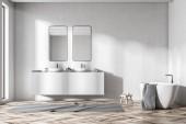 Čelní pohled dvojité umyvadlo bílá koupelna s vanou